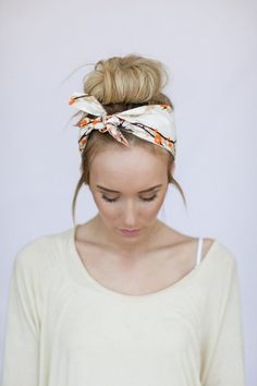 Dolly Bow Tie On Headband Doubles as Bun Wrap in Brown Cream and Orange Bird Print Head Wrap Tie Wrap Hair Accessories