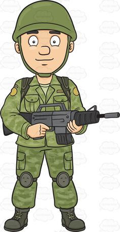A Brave And Proud Soldier Holding A Machine Gun – Clipart Cartoons By VectorToons Military Party, Army Party, Indian Army Wallpapers, Community Helpers Preschool, Military Drawings, Islamic Cartoon, Army Soldier, Cartoon Images, Cartoon Clip