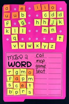 Make a Word Folder Get your students builder words with this literacy activity. Students choose 16 letters and then build as many words as they can. This word work center is great for first grade, second grade, third grade and fourth grade. Word Work Activities, Spelling Activities, Literacy Stations, Kindergarten Literacy, Reading Activities, Literacy Activities, Teaching Reading, Literacy Centers, Word Work Games