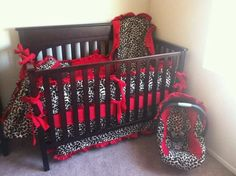 cheetah print crib bedding but pink and not red   duhhh