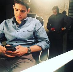 Jeremy Jordan & David Harewood on the set of Supergirl CW - Originally from Mehcad Brook's Instagram.