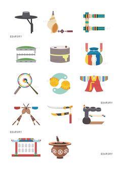 한글 자음으로 배우는 우리나라 전통! 타이포그래피 - 그래픽 디자인 · 일러스트레이션, 그래픽 디자인, 일러스트레이션, 그래픽 디자인, 디지털 아트, 일러스트레이션