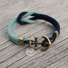 Nautical Square Knot Bracelet with anchor - waterproof with brass accents. $28.00, via Etsy.