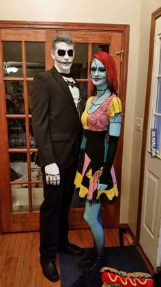 Jack and Sally Couples Costume ., Jack and Sally Couples Costume . Jack and Sally Couples Costume . Disney Halloween, Couples Halloween, Best Couples Costumes, Looks Halloween, Cute Costumes, Cool Halloween Costumes, Family Halloween, Halloween 2017, Halloween Cosplay