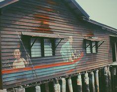 Children on a boat #streetart #georgetown