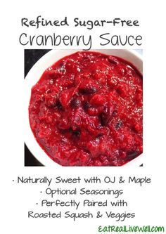 Super easy and simple cranberries sauce to pair with all of your fall dishes! No refined sugar! // EatRealLiveWell.com