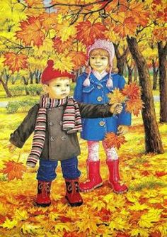 Autumn two brothers and sisters wall art full diamond embroidery new embroidery decoration diy diamond painting cross stitch Autumn Activities, Preschool Activities, Illustrations, Illustration Art, I Love Snow, Autumn Scenes, Fall Crafts, Autumn Leaves, Cute Kids