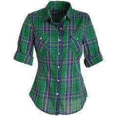 Plaid Shirt ($15) ❤ liked on Polyvore featuring tops, shirts, blusas, delias, shirts & blouses, green plaid shirt, plaid button up shirts, green button down shirt, tartan shirt and longsleeve shirt