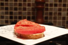 Can't wait for garden fresh tomatoes this spring and one of my favorite snacks: fresh bread with  butter and a thick slice of tomato!