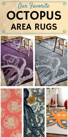 Our favorite Octopus Area Rugs!  Browse a list of 20 different octopus tail, head, and tentacle area rugs, throw rugs, doormats, and more.  If your beach home needs a new floor rug and you want it to include an Octopus, this list will have you covered.