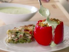 Couscous-Stuffed Peppers with Basil Sauce from FoodNetwork.com