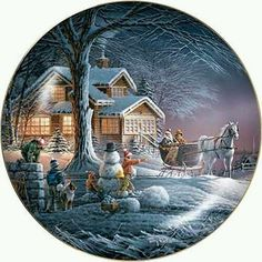 Winter Wonderland by Terry Redlin inch Decorative Collector Plate Christmas Scenes, Christmas Cards To Make, Christmas Art, Christmas Ornaments, Winter Pictures, Christmas Pictures, Christmas Topper, Christmas Decorations, Terry Redlin