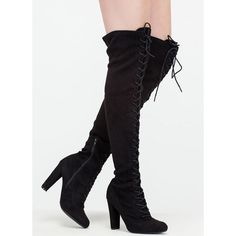 On Corset Lace-Up Over-The-Knee Boots ($38) ❤ liked on Polyvore featuring shoes, boots, black, over-the-knee boots, thigh high lace up boots, thigh high boots, over knee boots, black laced boots and above knee boots