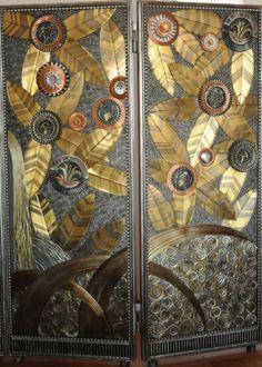 Reproduction paravent Oasis Edgar Brandt art déco avec laiton cuivre et fer forgé
