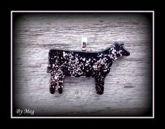 Black show heifer glass pendant fused with mica by hopthefence, $30.00