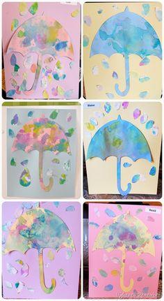 Rain Drops & Umbrellas {Drop, Then Blot} -