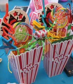 popcorn boxes for favors - love the roll out whistle