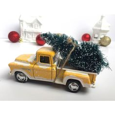 Vintage Truck with Christmas Tree Decor ($15) ❤ liked on Polyvore featuring home, home decor, holiday decorations, vintage home accessories, vintage holiday decorations, yellow home decor and holiday home decor
