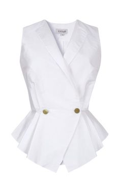 Shop Pleated Graduated Peplum Vest by A La Russe for Preorder on Moda Operandi Blouse Styles, Blouse Designs, Suits For Women, Blouses For Women, Mode Bcbg, Work Attire, Mode Style, Casual Tops, African Fashion