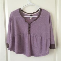 free people waffle top slightly cropped, 3/4 sleeve Free People Tops Tunics