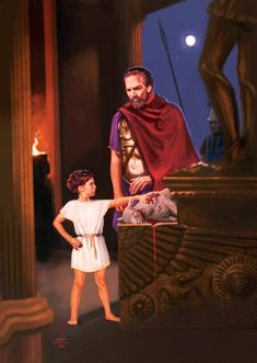 Hannibal, just a child, swearing eternal hatred for Rome under his father's gaze (Hamilcar Barca). Ancient Rome, Ancient Greece, Ancient Art, Ancient History, Ronald Reagan, Hannibal Barca, Punic Wars, Trojan War, North Africa