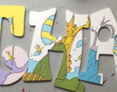 Inspired Dr. Seuss hand painted wooden letters
