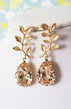 Tina - Gold Leaf Light Silk Swarovski Teardrop Crystal Earrings