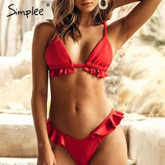 d8b5f4a6f07 Sheer Swimsuit, Red Swimsuit, Push Up Swimsuit, Red Bikini Set, High Leg
