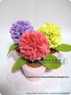 Eu Amo Artesanato: Vaso de flores de feltro