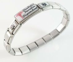Diabetic Insulin Dependent Medical ID Alert Italian Charm Bracelet with Red Caduceus Script Diabetic Bracelets. $31.99. stainless steel bracelet, stretches over your wrist. medical charm is hand crafted. you will receive instructions on how to take out or add links or charms. FREE sizing of bracelet. links or charms can be taken out, more added, moved around