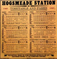 Hogsmeade Station Timetable Art Print by David Lee Thompson. All prints are professionally printed, packaged, and shipped within 3 - 4 business days. Harry Potter Spell Book, Harry Potter Props, Harry Potter Glasses, Harry Potter Classroom, Harry Potter Printables, Harry Potter Potions, Harry Potter Bedroom, Images Harry Potter, Theme Harry Potter