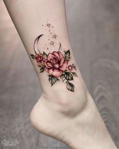 rose foot tattoos for women ~ rose foot tattoo ; rose foot tattoos for women ; rose foot tattoo cover up ; rose foot tattoos for women small ; Cool Small Tattoos, Small Tattoo Designs, Flower Tattoo Designs, Tattoo Designs For Women, Tattoos For Women Small, Tattoo Flowers, Flower Ankle Tattoos, Tattoo Ideas Flower, Awesome Tattoos