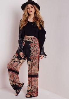 Pantalon large noir imprimé cachemire