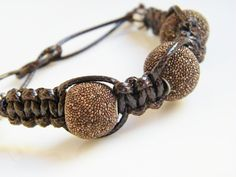 Chocolate Brown Beaded Bracelet Leather and by LadyRebelDesigns, $28.00