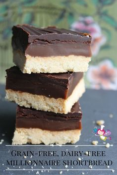 Decadent yet a healthier version of everyone's favourite treat! These millionnaire shortbreads are gluten-free, dairy-free, egg-free, soya-free, refined sugar-free, paleo and vegan!  But they taste amazing! Give them a try!