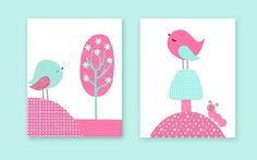 Children Art Prints Birds Aqua and Fuchsia Nursery Art Set of 2 Prints Canvas or Paper Girl's Room Decor Baby Shower Gift Toddler Playroom by SweetPeaNurseryArt on Etsy