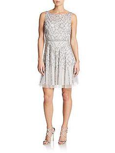 Sequined Illusion Top Chiffon Dress - SaksOff5th