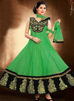 Beautiful Green Patch Border And Resham Work Georgette Designer Anarkali Suit, Product Code :7211, shop now http://www.sareesaga.com/beautiful-green-patch-border-and-resham-work-georgette-designer-anarkali-suit-7211  Email :support@sareesaga.com What's App or Call : +91-9825192886