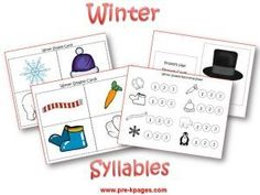 syllable game using winter words via www.pre-kpages.com/winter/