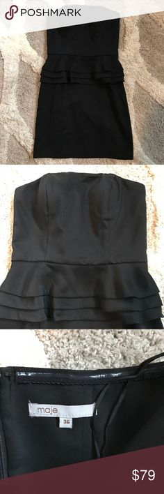 Maje Peplum Little Black Dress US Size 6 Everyone needs a LBD! This Maje Peplum dress is in Like New Condition!! It has structure and Boning in the upper portion. If you have any questions please ask 💕 Maje Dresses Strapless
