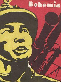 """""""Cette une de l'hebdomadaire d'actualité Bohemia (La Havane) est caractéristique de la production graphique cubaine autour de la guerre du Vietnam : couleurs jaune et rouge que l'on retrouve sur le drapeau du Sud-Vietnam ; figure du maquisard vietnamien, incarnation du """"guérillero héroïque"""" en lutte contre l'impérialisme américain ; et utilisation de la sérigraphie, technique par excellence du « style » cubain""""."""