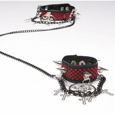 Red Black Check Spike Skull Gothic Punk Choker Wristband Jewelry Set SKU-71110050