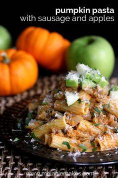 Pumpkin Pasta with Sausage. Pumpkin Pasta with Sausage and Apples: this savory pumpkin dish screams Fall harvest! Pumpkin Dishes, Savory Pumpkin Recipes, Healthy Pumpkin, Pumpkin Pumpkin, Vegan Pumpkin, Pumpkin Dessert, Pumpkin Pasta Sauce, Spaghetti Vongole, Sausage Pasta