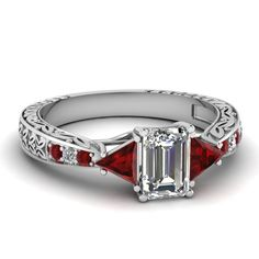 Twin Trillion Ring || Emerald Cut Diamond Vintage Ring With Red Ruby In 14k White Gold
