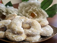 Almond Crescent Cookies: these are delicious. Only change I made was to add some ground up cashews because I ran out of almonds, but you couldn't tell the difference. Will make again.