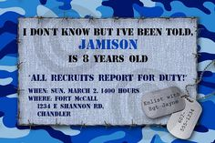 Blue camo party invitation.     #AirForce #camouflage #boys party
