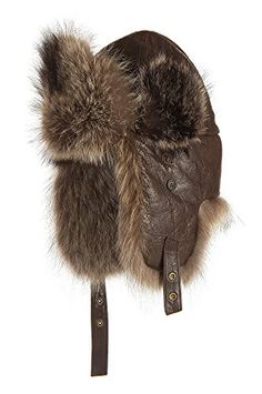 "Lambskin Leather Trapper Hat with Raccoon Fur Trim, BROWN/NATURAL, Size XXLarge (24 5/8"" circumference) * Learn more by visiting the image link."