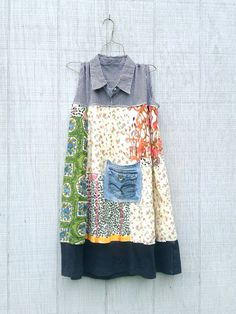 funky little romantic patchwork Dress stripe and by CreoleSha