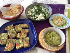 Annie's Tapas lunch. Red pepper & potato tortilla, guacamole, humous with shredded spinach, basil & feta salad.