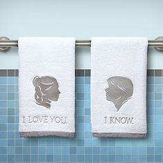 Star Wars Han Solo and Princess Leia Towels #ILoveYou #IKnow